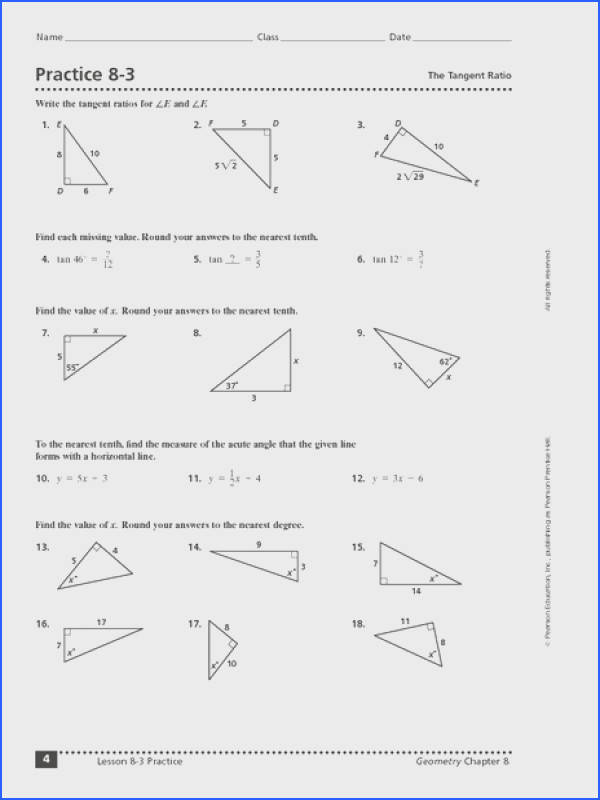 Practice 8 3 The Tangent Ratio Worksheet for 9th 11th Grade