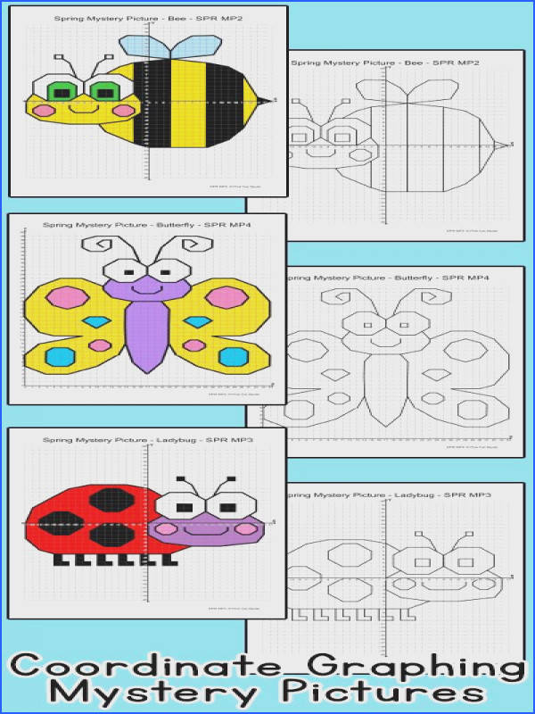 Practice plotting ordered pairs with these fun coordinate graphing Spring theme mystery pictures A bee