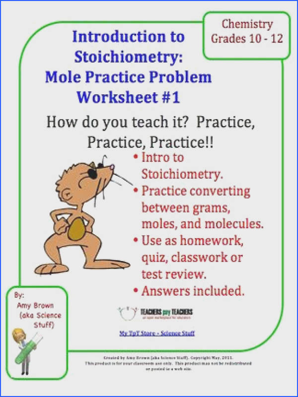 Practice Problem Worksheet for Stoichiometry and Moles