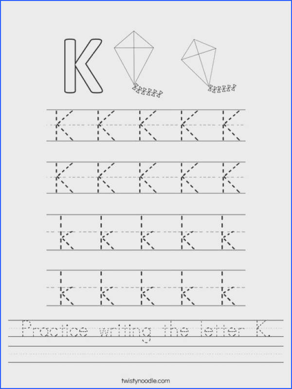 Practice writing the letter K Worksheet Twisty Noodle