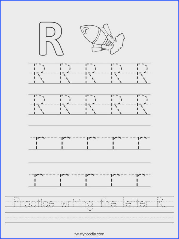 Pre K Handwriting Worksheets Awesome Letter R Worksheets Twisty Noodle Collection Pre K Handwriting Worksheets