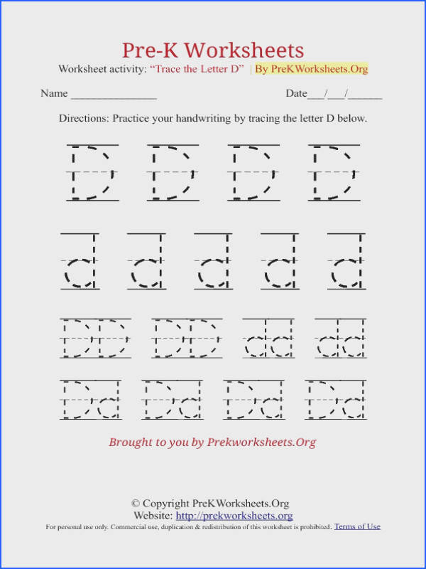 Pre K Tracing Worksheet D