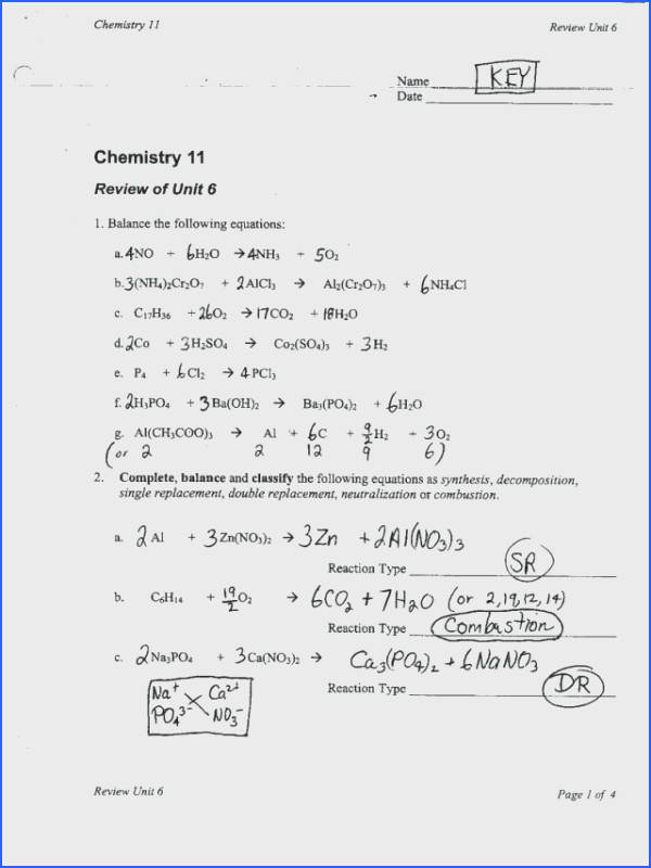 predicting products of chemical reactions worksheet answers for learning how to predict products from different types