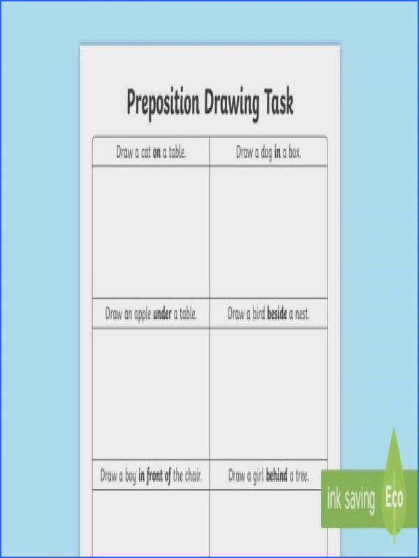 Preposition Drawing Task Worksheet Activity Sheet Preposition Resources Irish Worksheet