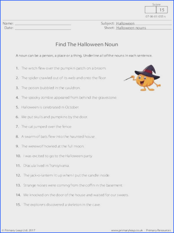 Primaryleap Find the Halloween Noun Worksheet Image Below Noun Worksheets