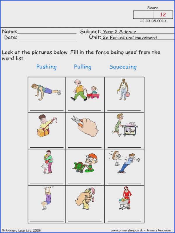 PrimaryLeap Pushing pulling and squeezing 1 Worksheet