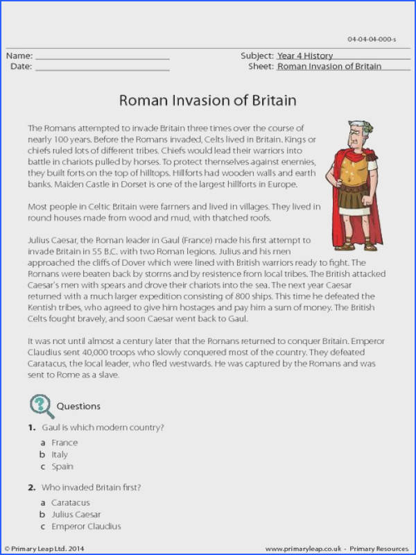 PrimaryLeap Roman Invasion of Britain prehension Worksheet