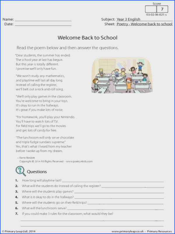 PrimaryLeap Wel e Back to School Poetry Worksheet