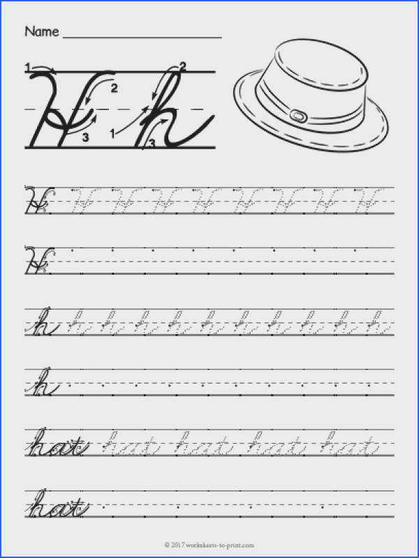 Help kids learn how to write both an uppercase and a lowercase cursive letter h with this fun handwriting worksheet featuring a hat