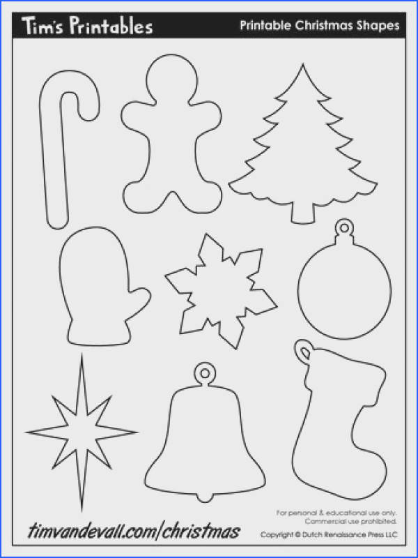 Decorate your Christmas crafts with a set of free printable Christmas shapes