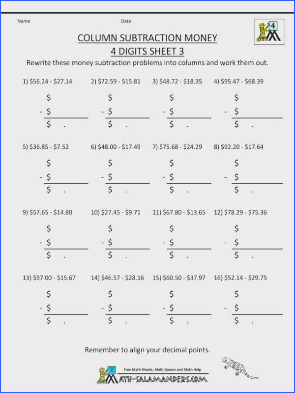4th Grade Subtraction Worksheets Across Zeros 2nd Printable Math Column Money Dig Subtracting 3rd Zero Worksheet