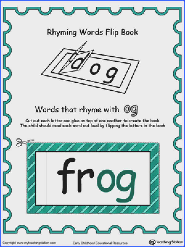 Printable Rhyming Words Flip Book OG in Color