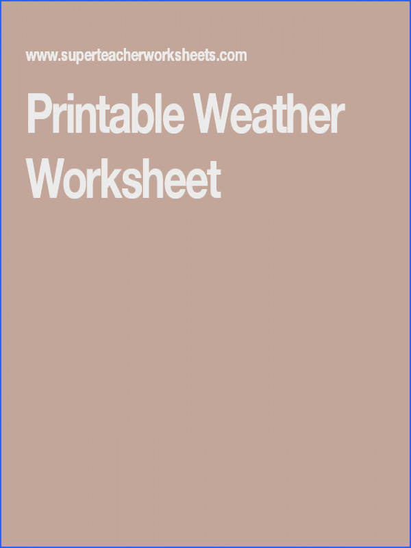 Printable Weather Worksheet