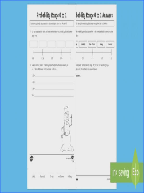 Probability Range 0 to 1 Worksheet Activity Sheet ACMSP117 Probability Decimal Numbers