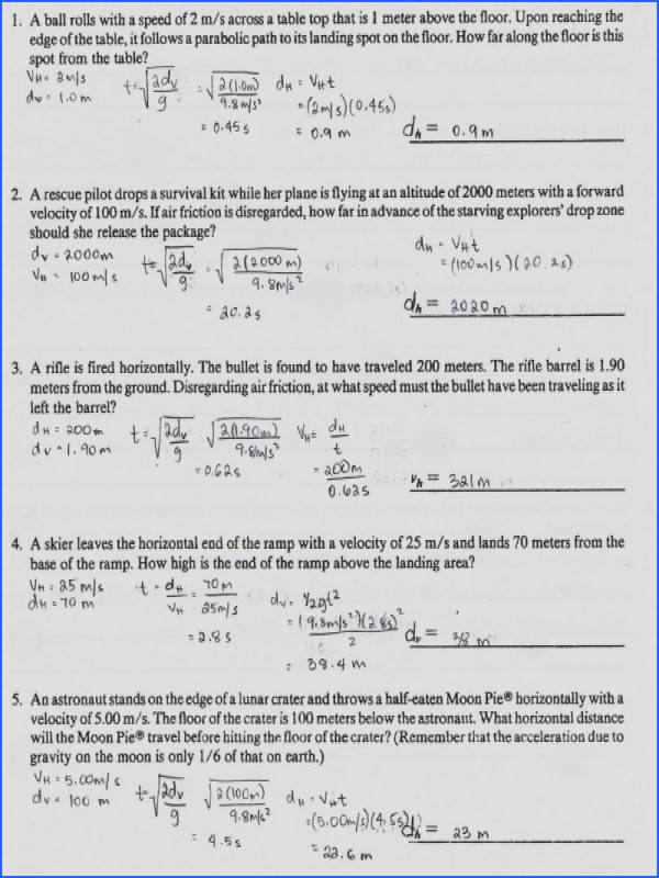 Physics1202 2010 Projectile Motion Continued All Grade Worksheets Projectile Motion Worksheet Answers