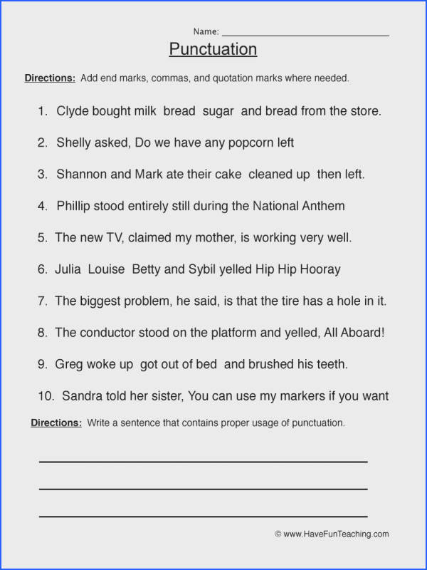 Free Punctuation Worksheets Free Worksheets Library Download And