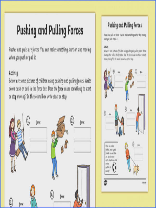 Pushing and Pulling Forces Worksheet push and pull pushing and pulling push and
