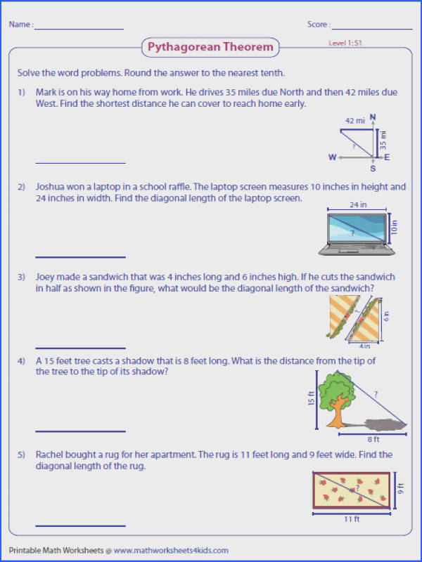 Pythagorean Theorem worksheets contain skills on right triangles missing leg or hypotenuse Pythagorean triple word problems