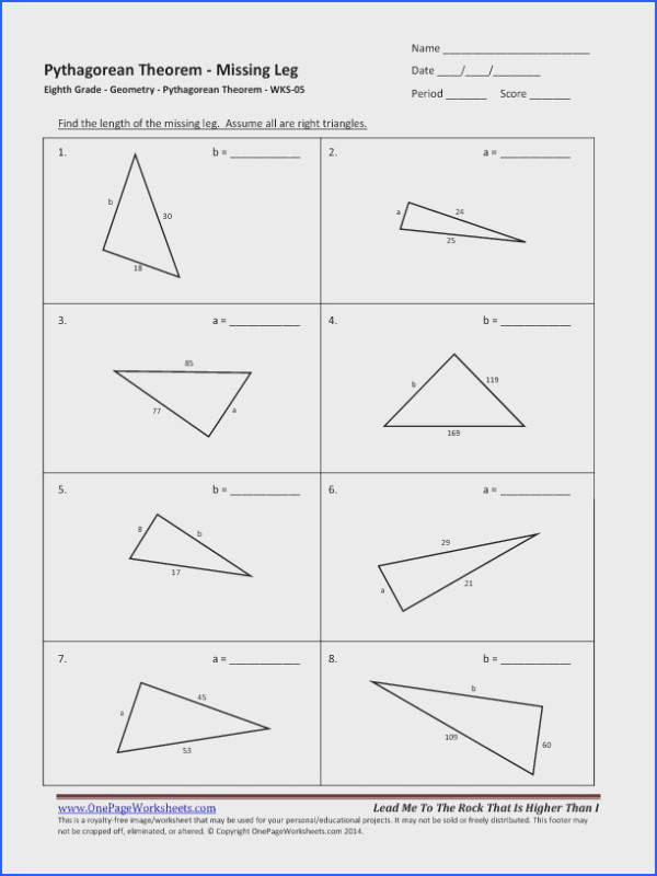 Pythagorean theorem Worksheet Grade 8 Image Below Pythagorean theorem Worksheet