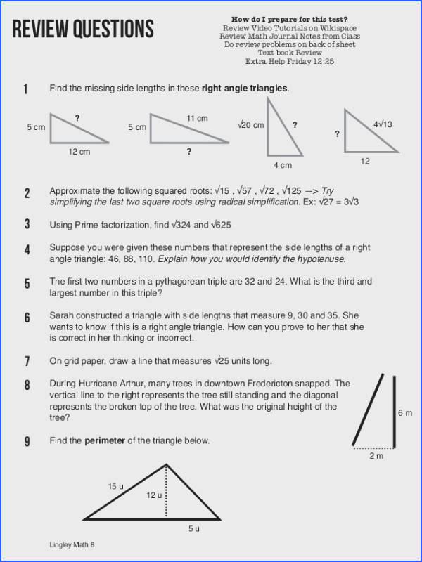 pythagorean theorem worksheet answers lesupercoin
