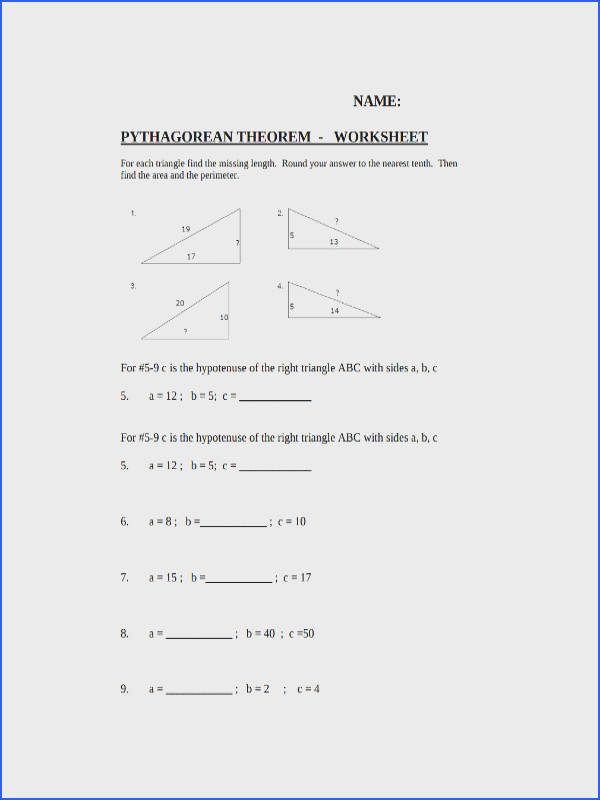 Pythagorean Theorem Worksheet Middle School