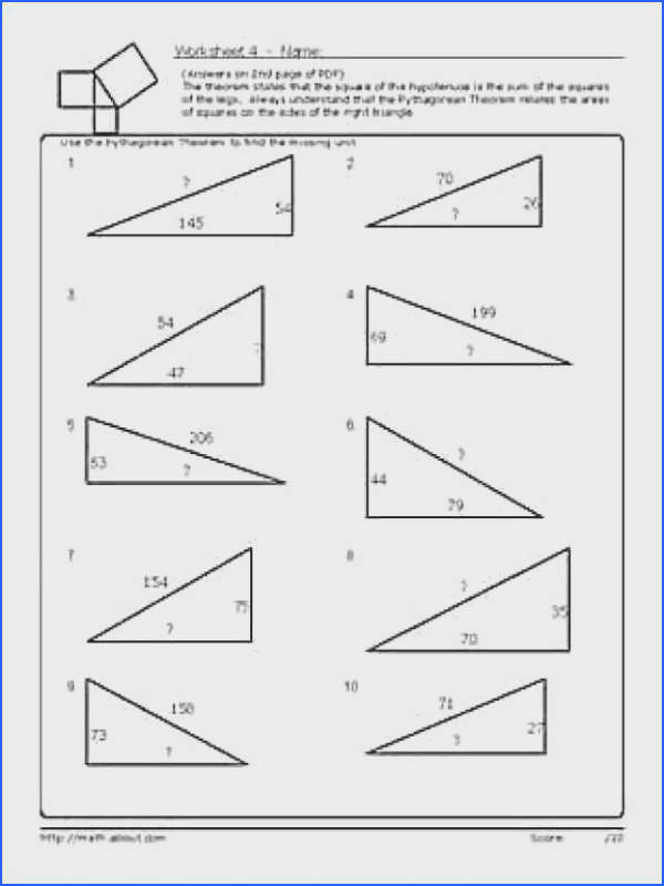8 pythagorean theorem worksheet
