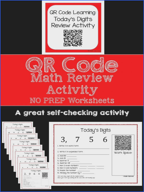 QR Code Today s Digits Daily Math Review Question Worksheets Number Place ValueNumber