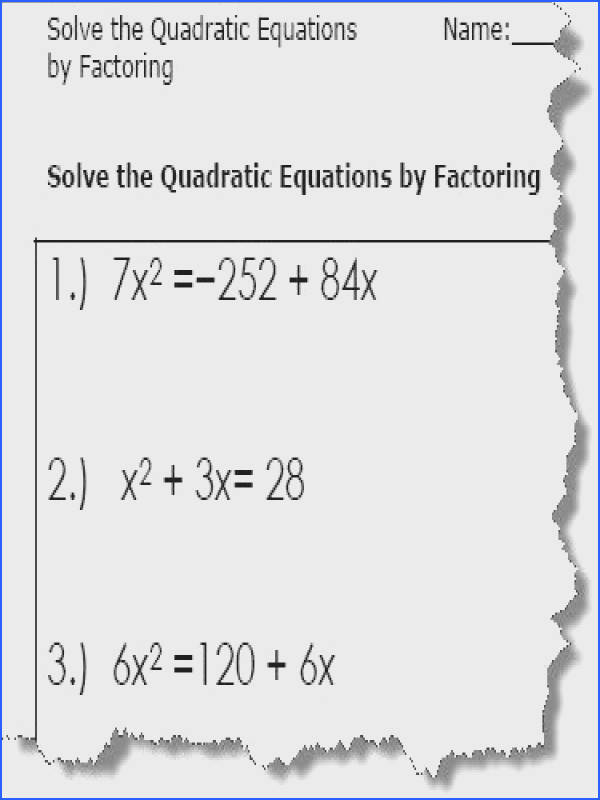 Quadratic Equations Worksheet
