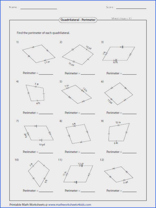 Based on the properties of quadrilaterals find the perimeter of each figure Perimeter Parallelogram