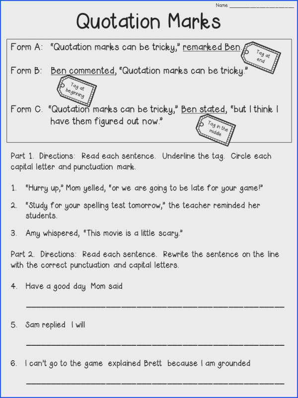 Quotation Marks Worksheet FREEBIE Check the blog post to see the anchor chart