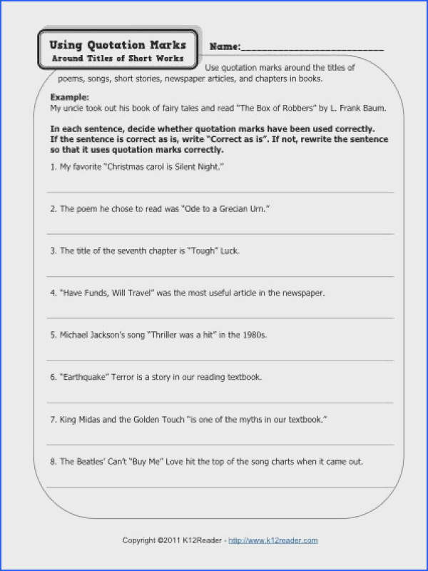 Your student will correct the misplaced quotations marks in this punctuation worksheet