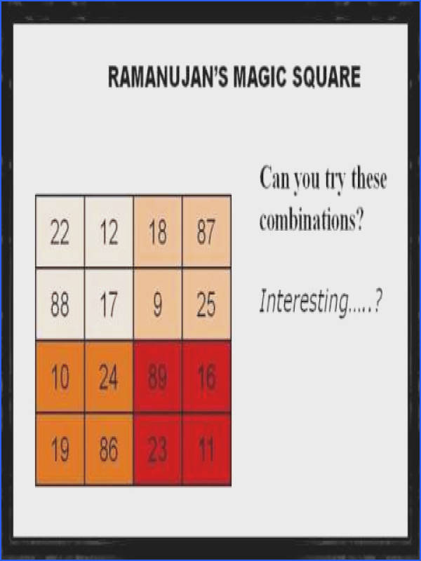 Ramanujan and his magic square number 139 Created n Edited by BODDU MAHENDER Magic Square
