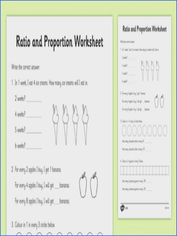 Ratio and Proportion Worksheet ratios ratios and proportions ratios worksheets proportions worksheets