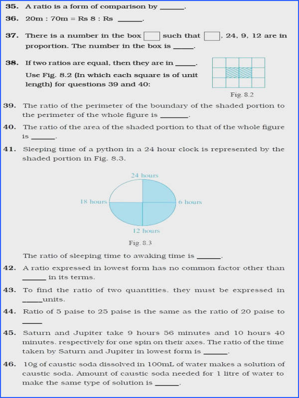 Class 6 Important Questions for Maths – Ratio and Proportion