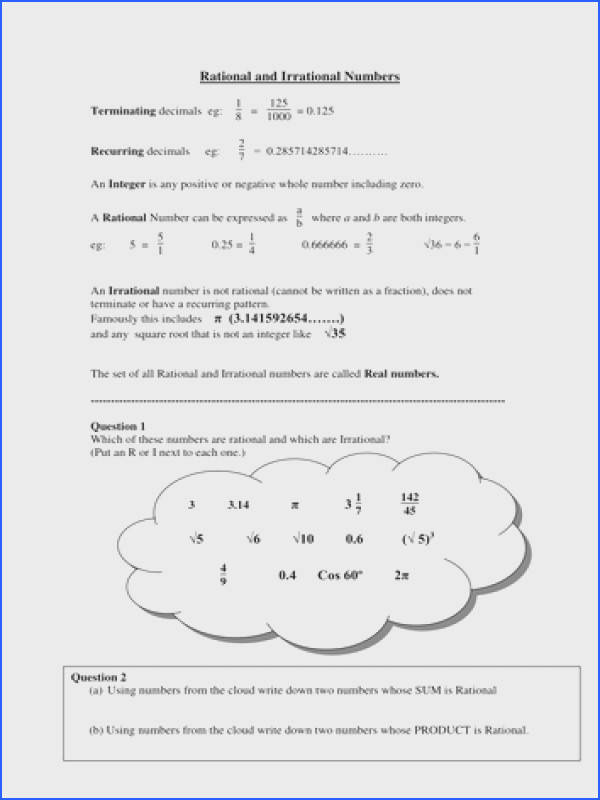 Rational and irrational numbers worksheets SMLF
