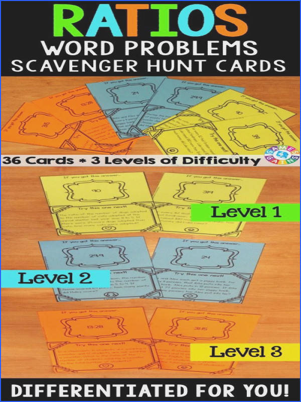 Ratios Word Problems Scavenger Hunt Cards make solving ratio word problems fun Included are 36