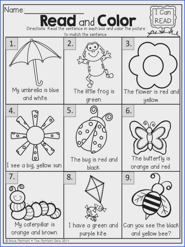 Read and Color Read the SIMPLE sentence and color correctly · English Worksheets For KindergartenReading