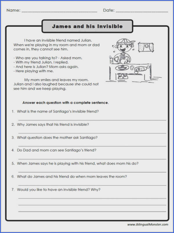 Reading prehension Worksheets 3rd Graders 1