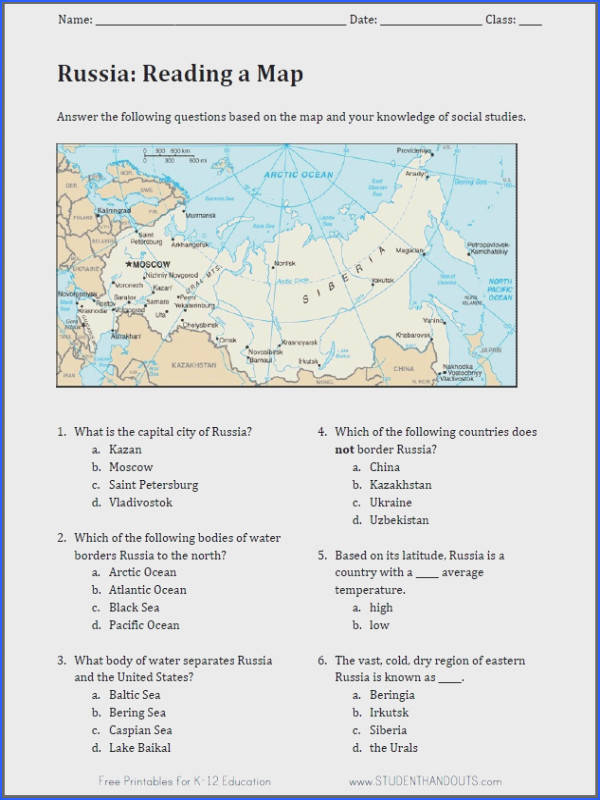 Reading Worksheets Russian Geography Map Reading Worksheet Image Below Geography Worksheets