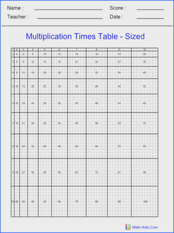 Ready to print Multiplication Times Table Chart Sized Worksheet with answer sheets For