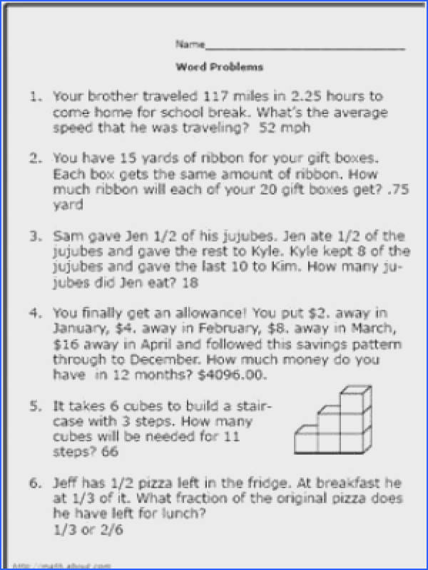 Here Are Some Math Word Problems Perfect for 6th Graders Worksheet 1 Solution