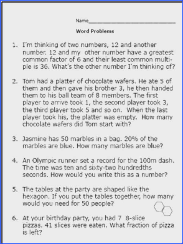 Realistic Math Problems Help 6th graders Solve Real Life Questions