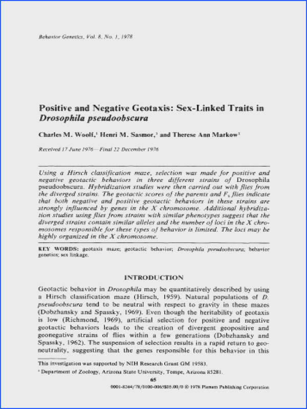 Positive and negative geotaxis linked traits in ResearchGate