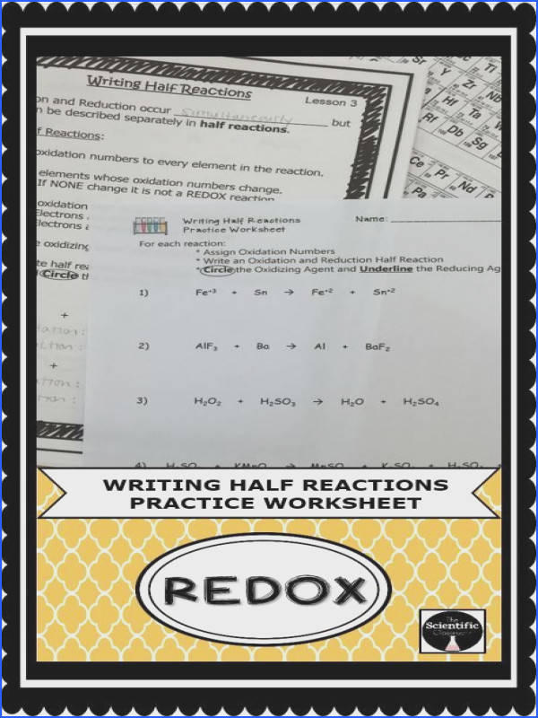 Students will be practicing writing half reactions for a REDOX reaction by pleting this practice worksheet