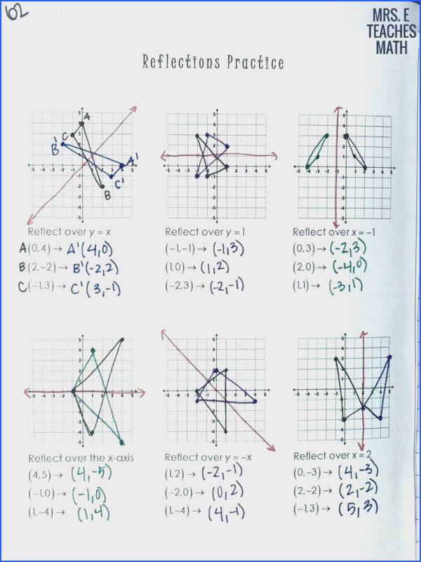 reflection worksheet answers to her with reflections practice page for geometry interactive notebooks inspiring light reflection and