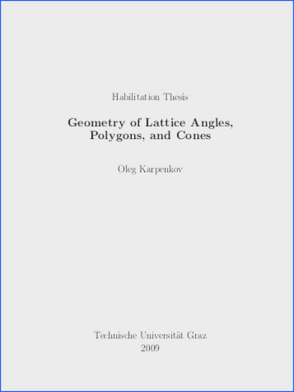Geometry of Lattice Angles Polygons and Cones Institute of