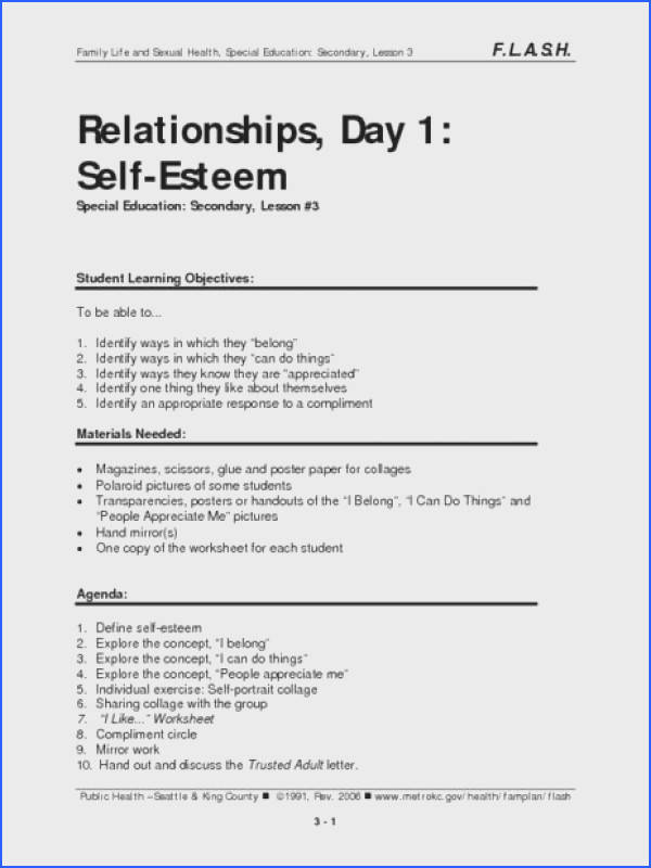 Relationships Day 1 Self Esteem Lesson Plan