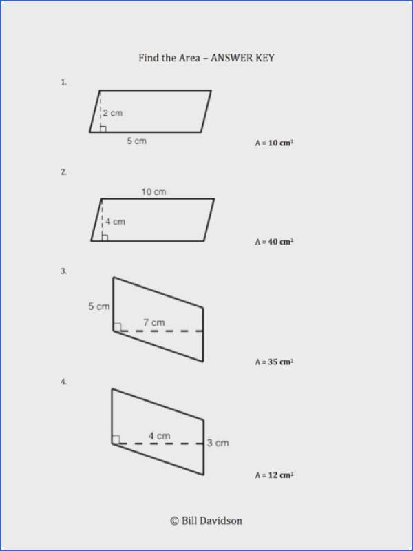 Remedial Area of a Parallelogram Worksheet
