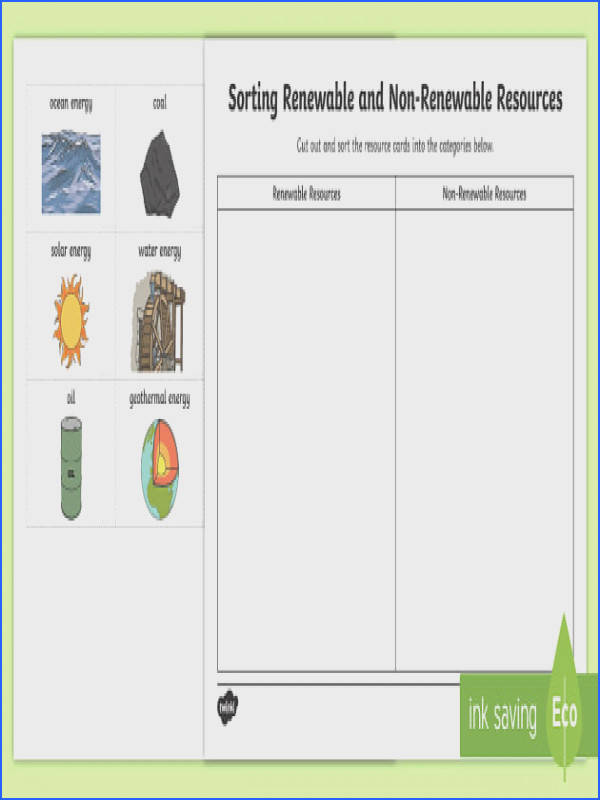 Renewable and Non Renewable Resources Sorting Worksheet Activity Sheet Earth Day Canada