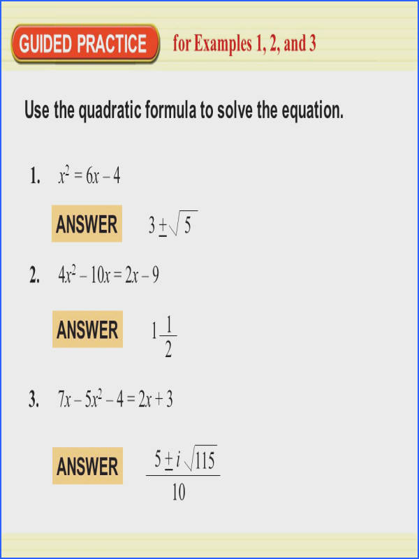 6 5 The Quadratic Formula And Discriminant Worksheet Answers
